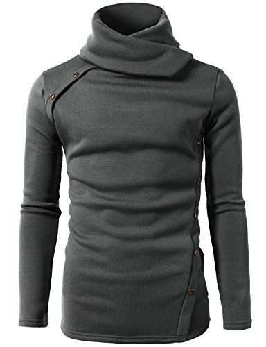 YUNY Mens Slim Casual Long Sleeve Jersey Pullover with Pockets White 2XL