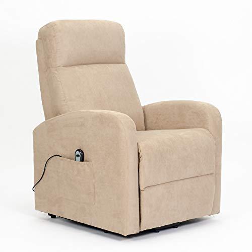 POLTRONE ITALIA - Poltrona elettrica alzapersona, reclinazione Fino a Letto, Sollevamento Piedi, Sistema Ruote, 1 Motore - Chanel-Lift-1M-MICAM Cammello Microfibra