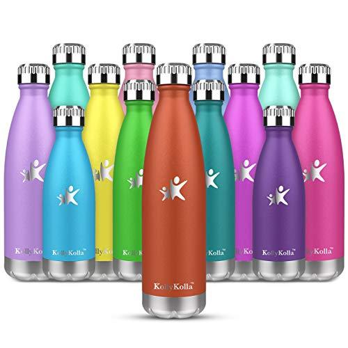 KollyKolla Botella de Agua Acero Inoxidable, Termo Sin BPA Ecológica, Botellas Termica Reutilizable Frascos Térmicos para Niños & Adultos, Deporte, Oficina, Yoga, Ciclismo, (750ml Naranja)