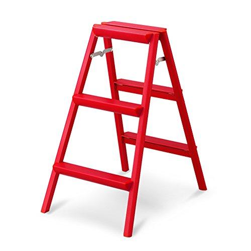 WUDENG Tabouret D'échelle Portable Solide Pliable Alliage D'aluminium Échelles Intérieur (Couleur : Red, taille : 47x66x79cm)