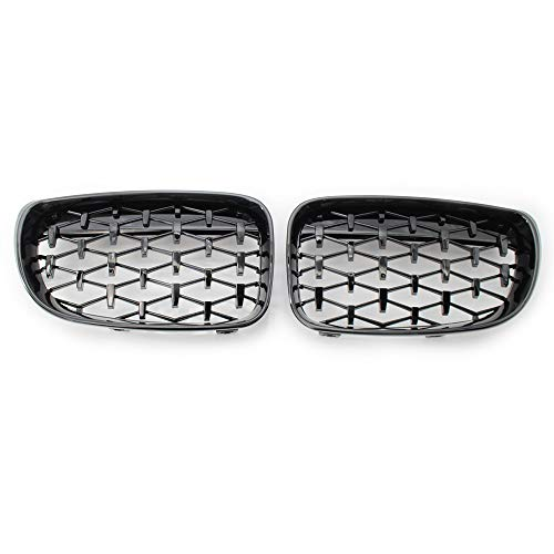 QSWL Parrilla Frontal del Riñón, Pareja Frontal Parrilla Diamante Brillante Negro Se Adapta A BMW E81 E87 E88 1 Serie 08-11