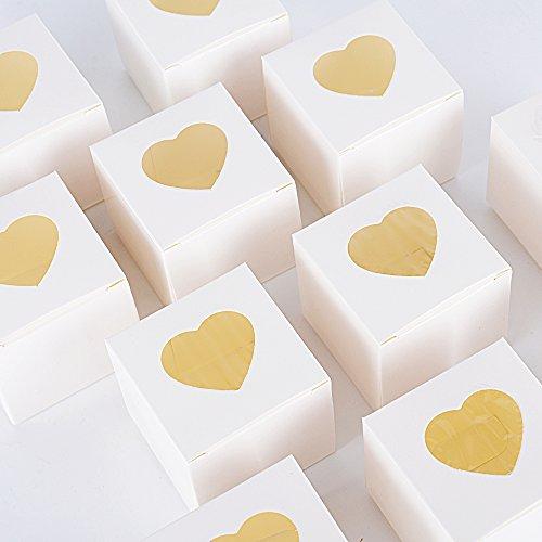 AONER 100pz Scatoline Bianche Scatole Portaconfetti Bomboniere Segnaposto Regalo per Matrimonio Nozze Laurea Battesimo Festa Compleanno 4.9 * 4.9 * 4.9cm