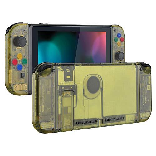 eXtremeRate Hülle für Nintendo Switch Konsole/Joycon,Case Hülle Gehäuse Tasche Zubehör Kit für Nintendo Switch Konsole,Joy Con mit Tasten, DIY-Ersatzteile für Nintendo Switch(Bernsteingelb)