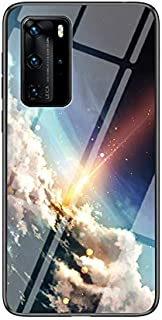 Multicolor Case for Huawei P40 Pro Case Gradient Clear Tempered Glass Cover Case Compatible with Huawei P40 Pro (Bright St...