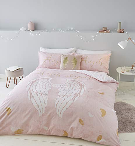 Catherine Lansfield Angel Wings, 52% Polyester 48% Cotton, Pink, Double