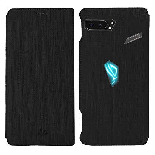 HATA ASUS ROG Phone 2 Lederhülle Handyhülle flip case mit Standfunktion Magnetverschluß Kartenfach ASUS ROG Phone 2 Schutzhülle Tasche (ROG Phone2, Black)