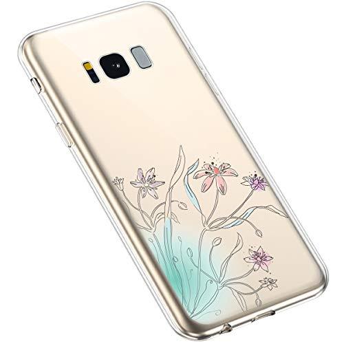 Uposao Compatibile con Samsung Galaxy S8 Plus Luminoso Fiore Floreale Modello Design Molle TPU Gel Silicone Protettivo Skin Custodia Shell Case Cover per Ragazza,Prato di fiori