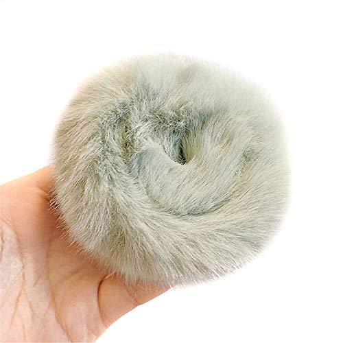 ZSDFW Soporte de coleta de felpa para el pelo, suave y elástico, accesorio para el cabello para mujeres y niñas, color verde claro
