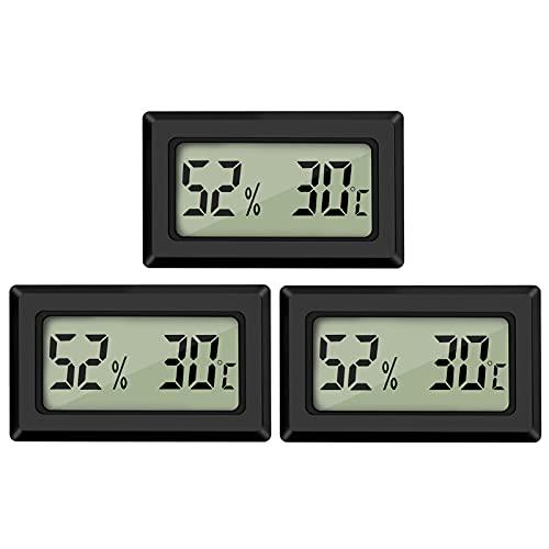 Thlevel Mini Digital LCD Thermomètre Hygromètre Température Humidité Testeur Thermomètre Portable Thermo Hygromètre Indicateur pour Bureau Cuisine Humidors Incubateurs Reptiles (3PCS)