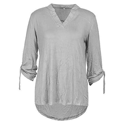 Camisa Mujeres Manga Larga Color Sólido Camisa con Cuello En V Business Get Together Blusa Casual Mujeres Elegante Intelectual Cómodo Transpirable Tops Mujeres D-Gray XL