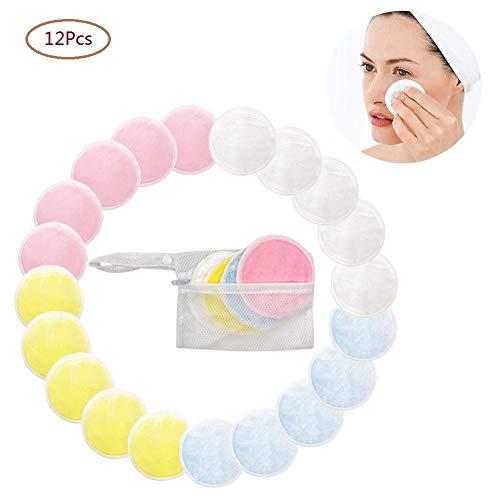 Lomire® 12Pcs Cotons de démaquillage lavables et réutilisables, Cotons demaquillants bio en fibre de bambou avec sac à ligne, tampons de nettoyage doux pour soin du visage yeux peau, 4 couleurs