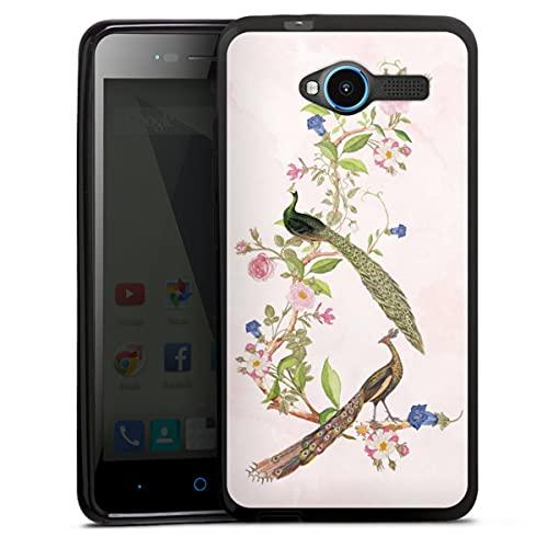 DeinDesign Silikon Hülle kompatibel mit ZTE Blade L3 Hülle schwarz Handyhülle Pfau Blumen pink