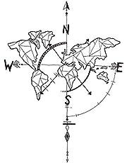 decalmile Negro Mapa del Mundo Pegatinas de Pared Brújula Náutica Vinilo Decorativos Adhesivos Desmontable Mural Oficina Dormitorio Salón Decoración