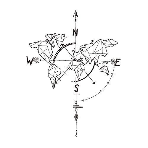 decalmile Geometrisch Weltkarte Wandtattoo Kompass Wandsticker Vinyl Schwarz Wandaufkleber für Wohnzimmer Schlafzimmer Büro