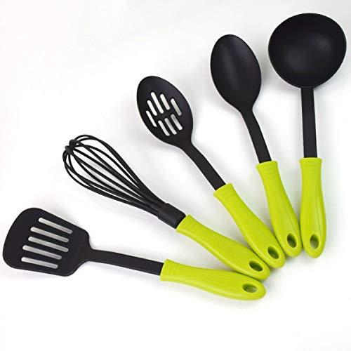 5 pcs/lot Outil de cuisson de qualité alimentaire en nylon anti-adhésif Ustensiles de Cuisine Ensemble de résistant à la chaleur Ustensiles de Cuisine vert clair