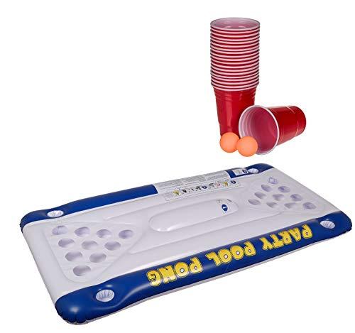 Out of the Blue 91/4025 - Luftmatratze, Pool Pong Game, ca. 152 x 76 x 15 cm, inklusive 20 Kunststoffbechern und 2 Ping - Pong Bällen, im Geschenkkarton