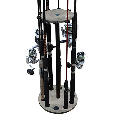 Rush Creek Creations 10 Round Freshwater Fishing Rod/Pole Storage Floor Rack Barn Wood Finish - Convenient Easy Assembly