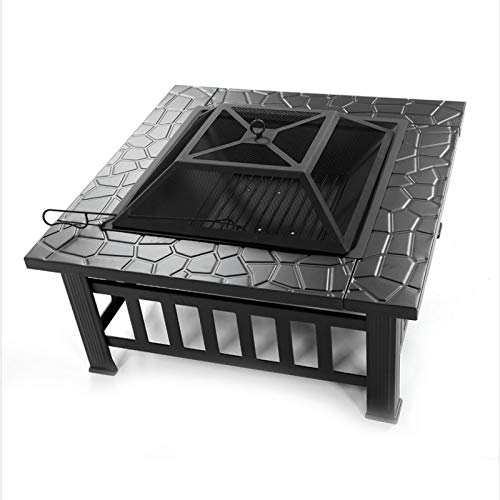 winne Black Square Brazier Outdoor Wood Burning Fire Pit Suitable for Outdoor Backyard Terrace Camping Deck Courtyard