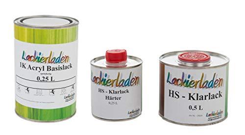 Lackierladen Autolack 1,0 Liter Set HS Klarlack Härter Wunschfarbe spritzfertig BMW A83 / WA83 Glaciersilbereffect