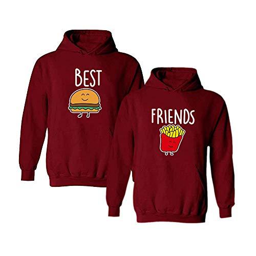 Beste Freunde Pullover für Zwei Mädchen Best Friends Hoodie BFF Pullover Sister Kapuzenpullover Damen Pulli Geburtstagsgeschenk 1 Stück…-Red-pommes-M