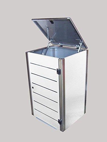 Mülltonnenbox Edelstahl, Modell Eleganza Line 240 Liter als Dreierbox in Weiss - 3