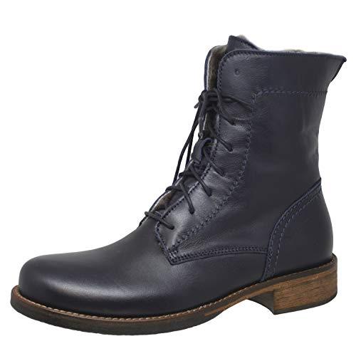 Momino 3953 Boots Stiefel Stiefeletten Leder Lammfell, Blau (Blue), EU 36
