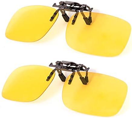 Night Vision Anti Glare Polarized Clip On Flip Up Driving Glasses UV400 Len D