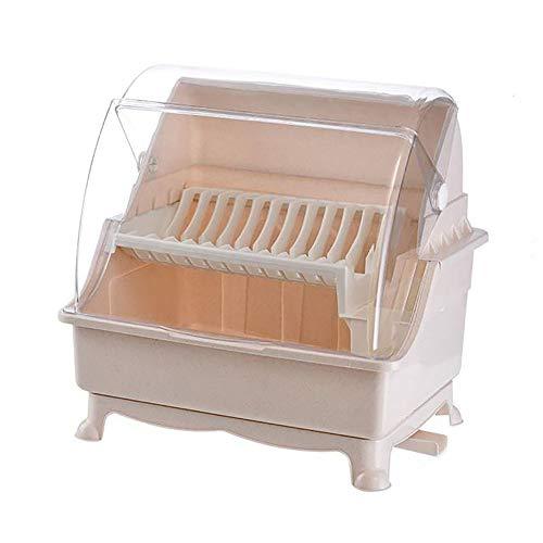 Mueble Escurreplatos de Cocina, Secaplatos con DesagüE Giratorio de PláStico Bandeja Escurreplatos para La Encimera o El Fregadero de La Cocin con Bandeja Recolectora