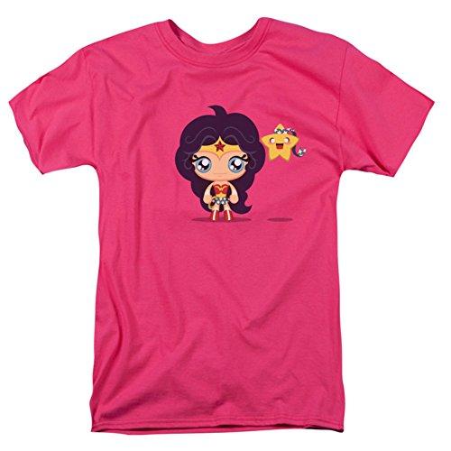 JLA Cute Wonder Woman Mens Camisa Manga Corta (Hot Pink, XXX-Grande)