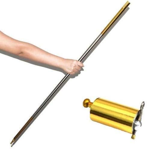 ZWIFEJIANQ Magic Wand, Magic Pocket Staff, Pocket Staff Magic Cane for Magician Use Only for Adult Stage Magic Trick Accessories (Gold, 110CM)