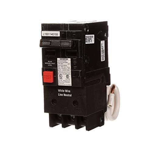 Siemens qe220h 20-Amp doble pole 120/240-volt grupo culpa equipo interruptor de circuito de protección