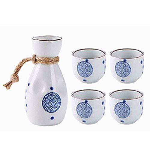 YLJYJ Teteras, Juego de Sake japonés, Juego de Tazas de Sake de 5 Piezas, Tazas de cerámica con Textura de Onda Azul, Copas de Vino artesanales pintorescas, para frío/Calor/Shochu (Juego de Tazas)
