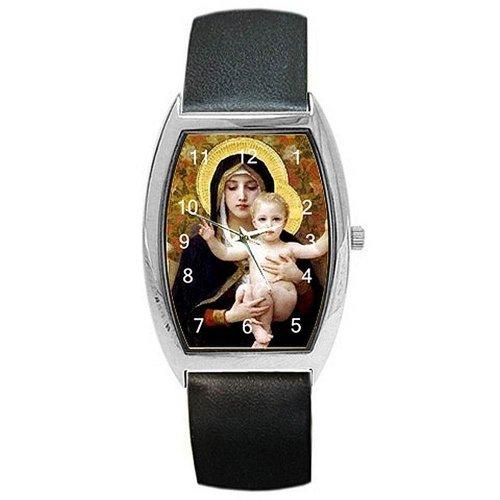 Classic Madonna und Baby Jesus auf einem Damen Lauf Armbanduhr mit Leder Band