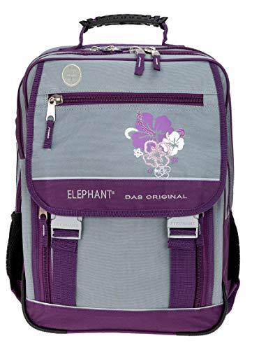 Schulrucksack Mädchen Elephant Schulmappe Schulranzen Ranzen 2 Hauptfächer XL 3812 Flower Lila