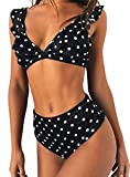 JFAN Mujer Traje de Baño Bikini Punto de Onda Ruffle Conjunto de Bikini de Playa Acolchado Bañador