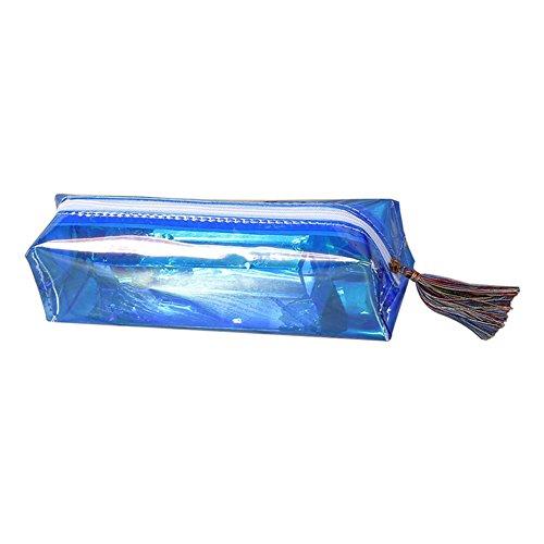 Sanwood - Trousse à crayons transparente avec gland et fermeture éclair - Pour maquillage, fournitures scolaires - Bleu