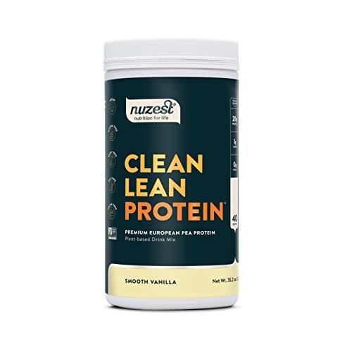 Nuzest Clean Lean Protein - Premium Vegan Protein Powder, Plant Protein Powder, European Golden Pea Protein, Dairy Free, Gluten Free, GMO Free, Naturally Sweetened, Smooth Vanilla, 40 Servings, 2.2 lb