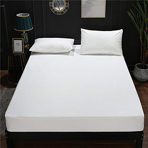lhmlyl Matresss Protectorwaterproof Bed Lily Bed Cover Tencel Embossed Urine Separation Mattress Cover Single-Piece Hotel Simmons Protective Cover-White_180*200Cm+30Cm