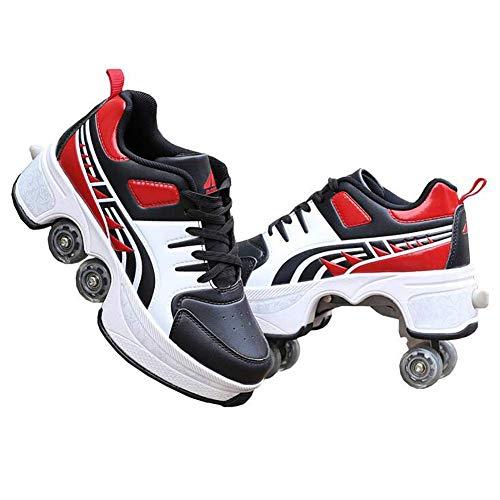 Wedsf 2 in 1 Multifunktionale Verformungsrollschuhe Quad-Skating Skate Rollschuhe Skating Outdoor-Sportarten Schlittschuhe Flaschenzugschuhe Für Erwachsene,36