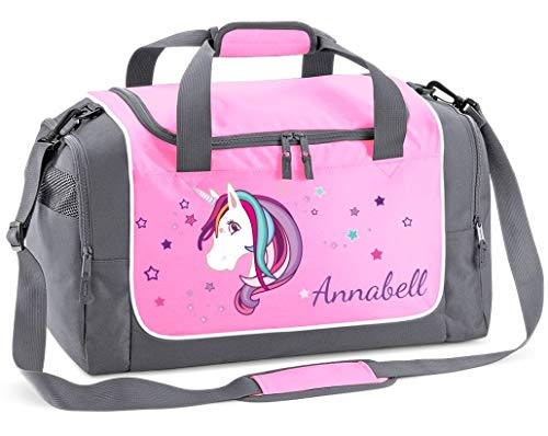 Mein Zwergenland Sporttasche Kinder Praktisch kompakt & robust Sporttasche mit Namen Einhorn als Aufdruck Farbe Rosa 38 L Stauraum die perfekte Sporttasche für Kinder