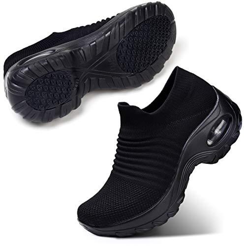 STQ damskie buty do chodzenia wsuwane lekkie siatkowe trampki oddychające tenis wygodne buty na koturnie