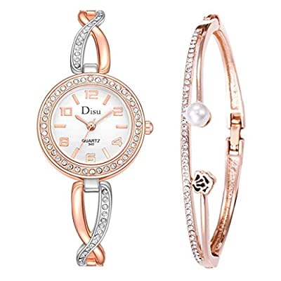 Watch for Girls,Temperament Lady Watch Rose Pearl Bracelet Set Chain Watch Birthday Gift(Multicolor)