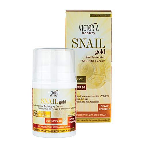 Victoria Beauty - Anti Aging Sonnencreme Gesicht, SPF 50 Face mit Arganöl und Schnecken-Extrakt, hoher Schutz vor UVA/UVB Strahlen, Lichtschutzfaktor 50, Snail Gold Detox Formula (1 x 50 ml)