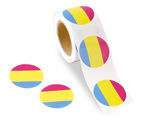 250 Circle Pansexual Pride Stickers on a Roll - Round Shaped (250 Stickers) - Support LGBTQ Causes