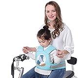 MILECN Arnés de Seguridad para Motocicleta para niños Cinturón de Seguridad para Bicicletas | Hebilla Segura | Tira Reflectante | Material Transpirable,Blue Fox