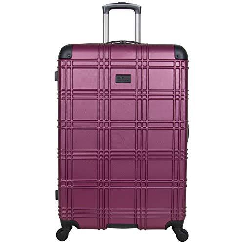 Ben Sherman Nottingham 28' Lightweight Hardside 4-Wheel Spinner Checked Size Travel Luggage, Raspberry