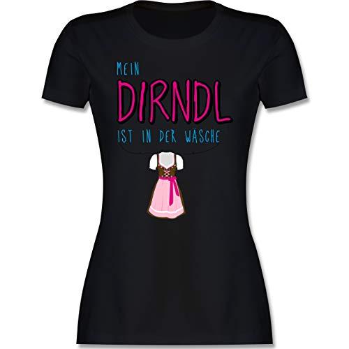 Oktoberfest & Wiesn Damen - Mein Dirndl ist in der Wäsche - L - Schwarz - bayerisch Oberteil - L191 - Tailliertes Tshirt für Damen und Frauen T-Shirt