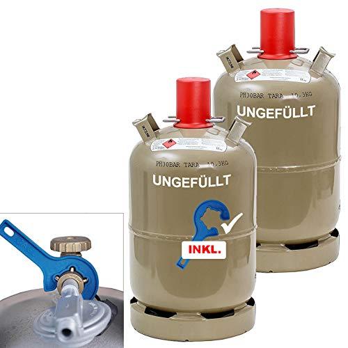 CAGO 2 x Camping Propan-Gas-Flasche 11kg grau leer Neuflasche Eigentumsflasche für Gasgrill, Gaskocher, Gasofen INKL Gasregler-Schlüssel