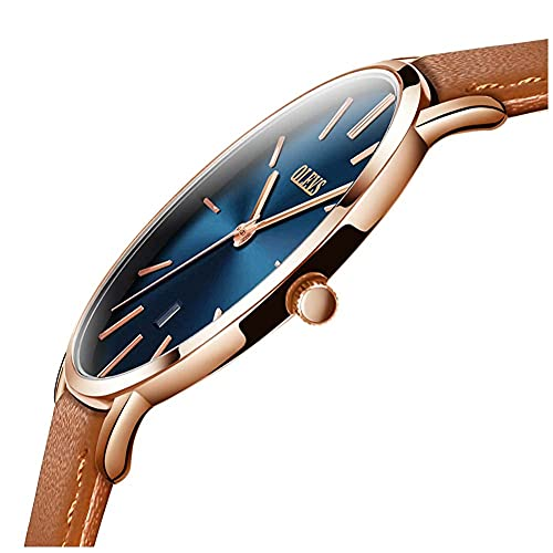 Men's Wrist Watches Luxury Dress Brown Leather Watches Blue Face Ultra Thin Minimalist Mens Watches