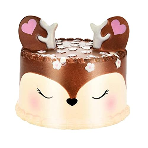 Slow Rising 11cm Kawaii Cute Horse Cake Scented Squishy Charm Slow Rising Simulation Kid Toy Key Cell Phone Pendant Strap Gift Home(Colorful ABCDE) (Brown)